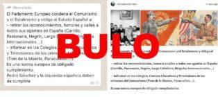 """No, el Parlamento Europeo no """"obliga al Estado Español a retirar los reconocimientos, honores y calles a todos los agentes"""" del comunismo y estalinismo en España"""