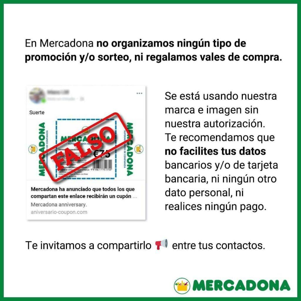 """No, Mercadona no está regalando un """"cupón gratis de 250 euros"""" para """"celebrar su 45 aniversario"""": es phishing"""