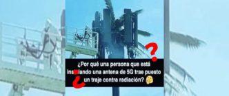 ¿Qué sabemos de la imagen de una persona con un traje de protección que supuestamente manipula una antena 5G? No es un traje antirradiación y el 5G no es peligroso para la salud