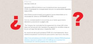 ¿Qué sabemos sobre la cadena de WhatsApp que dice que la vacuna contra la COVID-19 estará lista en septiembre de 2020?