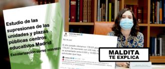 La guerra de cifras sobre la reducción de plazas de educación en la Comunidad de Madrid: el informe de CCOO dice que se han reducido las públicas y Ayuso responde incluyendo datos de la concertada
