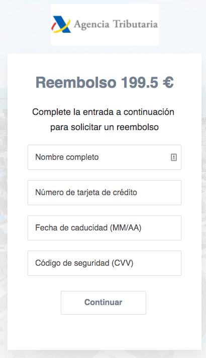 Agencia Tributaria 199,5 euros datos bancarios phishing.
