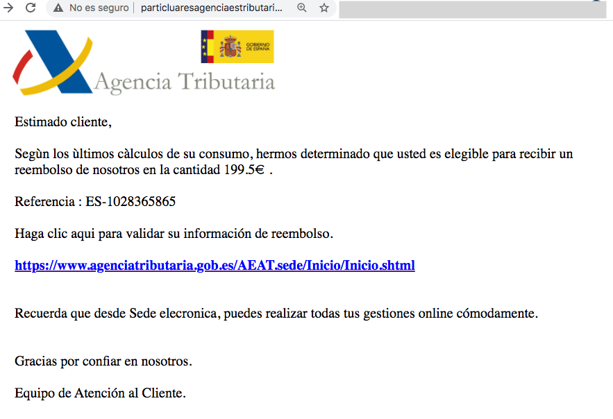 Agencia Tributaria reembolso 199,5E phishing.