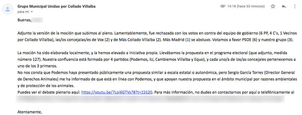 Respuesta Unidas por Collado Villalba