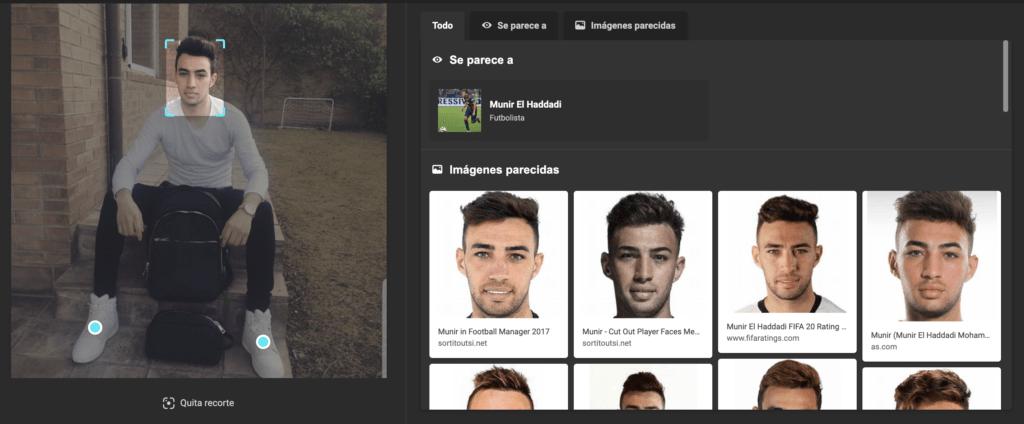 Captura de la búsqueda facial en Bing.