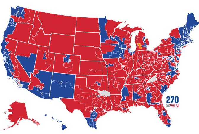 Mapa de Estados Unidos en el que se muestran las circunscripciones electorales para las elecciones a la Cámara de los Representantes