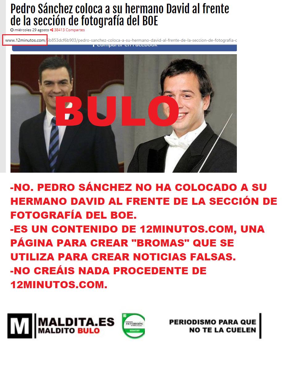 No. Pedro Sánchez no ha colocado a su hermano David al frente de la sección de fotografía del BOE