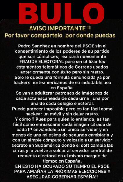 """No, ni el PSOE ni Pedro Sánchez pueden """"amañar"""" o """"hackear"""" las próximas elecciones adulterando la imagen escaneada de cada acta de escrutinio"""