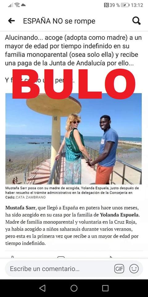 """No, la Junta de Andalucía no ha otorgado """"una paga"""" a una mujer española por acoger en su casa a un joven extranjero que aparece en un reportaje de El Mundo"""