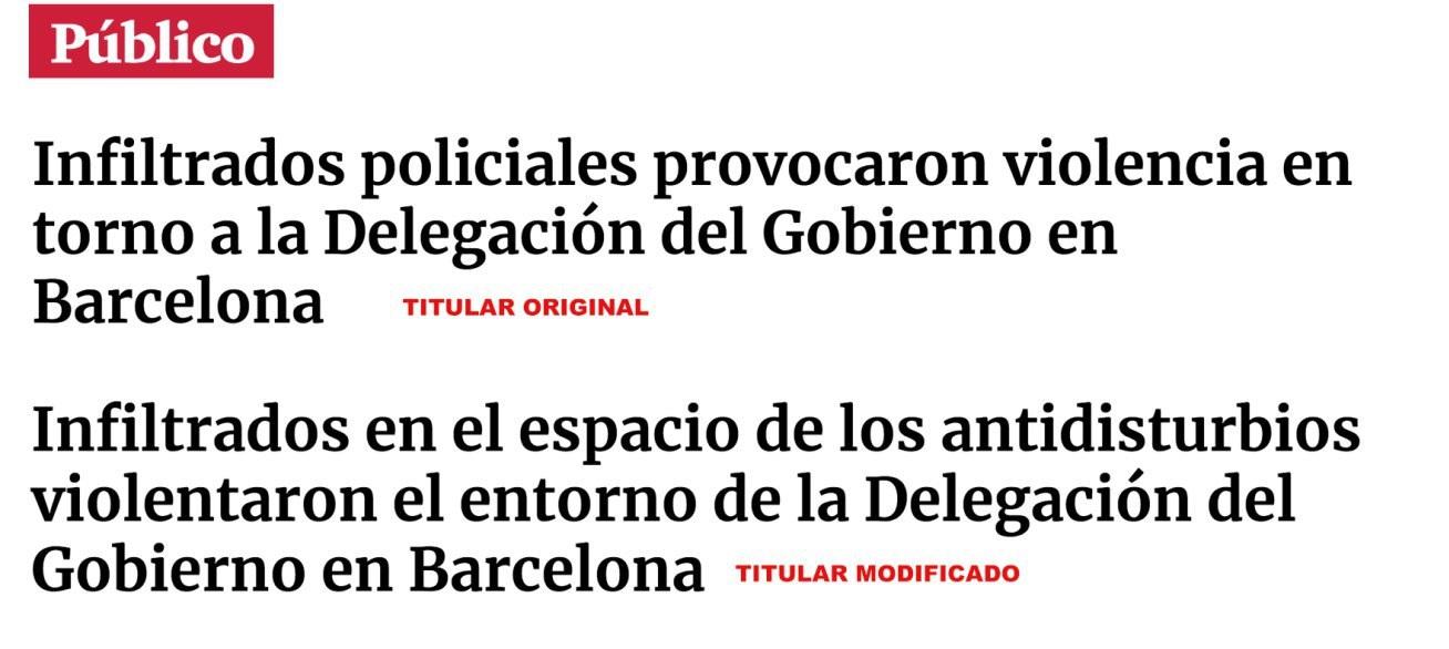 ¿Qué sabemos sobre el contenido que sitúa a «infiltrados policiales» en Barcelona?: Público ha modificado el contenido
